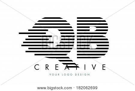 Qb Q B Zebra Letter Logo Design With Black And White Stripes