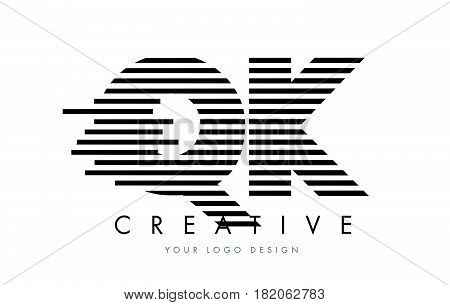 Qk Q K Zebra Letter Logo Design With Black And White Stripes