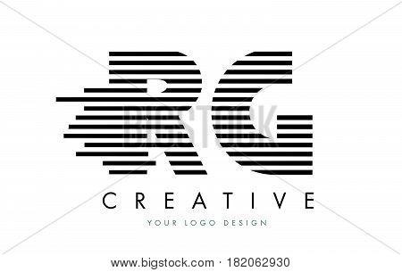 Rg R G Zebra Letter Logo Design With Black And White Stripes