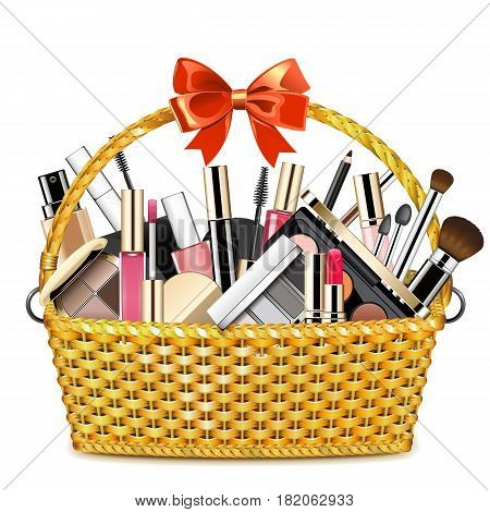 Vector Basket with Makeup Cosmetics isolated on white background