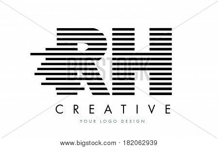 Rh R H Zebra Letter Logo Design With Black And White Stripes