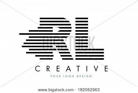 Rl R L Zebra Letter Logo Design With Black And White Stripes