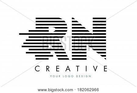 Rn R N Zebra Letter Logo Design With Black And White Stripes