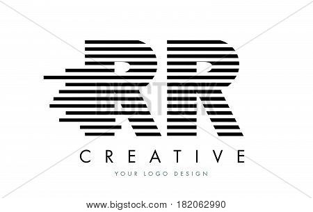 Rr R Zebra Letter Logo Design With Black And White Stripes