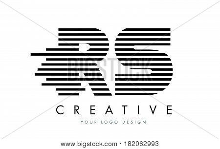 Rs R S Zebra Letter Logo Design With Black And White Stripes