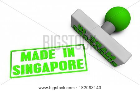 Made in Singapore Stamp or Chop on Paper Concept in 3d 3D Illustration Render