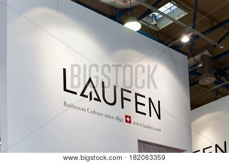 Moscow, Russia - April, 2017: Logo sign of Swiss brand Laufen. Laufen produces ceramic items such as washbasins, bidets and toilets
