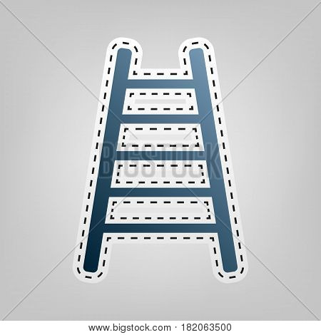 Ladder sign illustration. Vector. Blue icon with outline for cutting out at gray background.