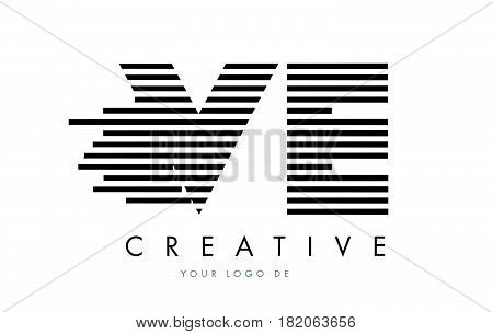 Vc V C Zebra Letter Logo Design With Black And White Stripes