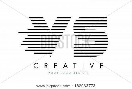 Vs V S Zebra Letter Logo Design With Black And White Stripes