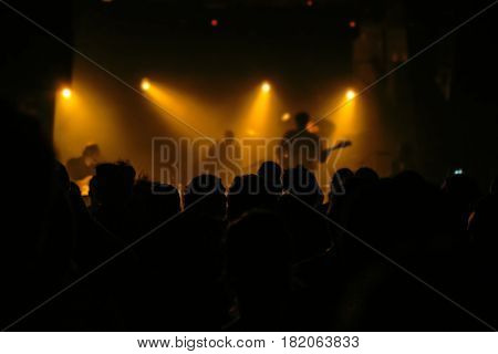Music concert fans crowd people at popular live rock performance selective focus