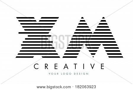 Xm X M Zebra Letter Logo Design With Black And White Stripes