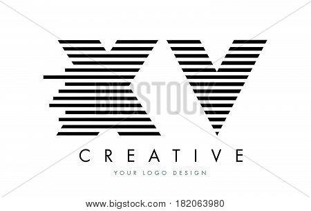 Xv X V Zebra Letter Logo Design With Black And White Stripes