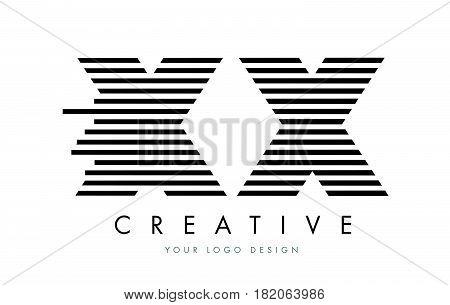 Xx X X Zebra Letter Logo Design With Black And White Stripes