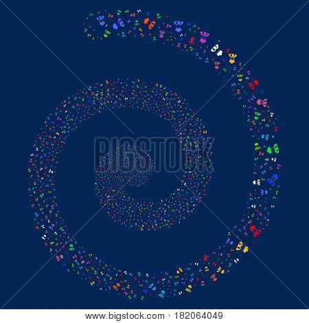 Cook Man bang swirling spiral. Vector bright multicolored random pictographs.