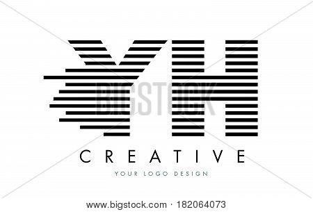Yh Y H Zebra Letter Logo Design With Black And White Stripes