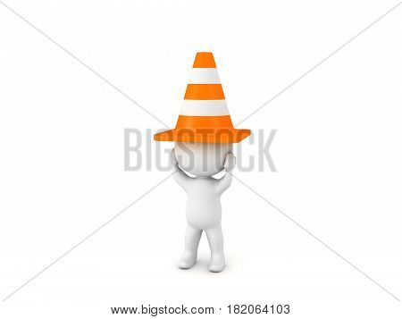 3D Character with traffic cone on his head. He is feeling stressed.