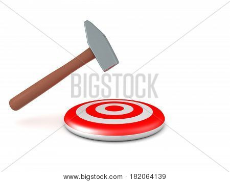 3D illustration of a hammer hitting a target in the middle The target is red with concentric circles.