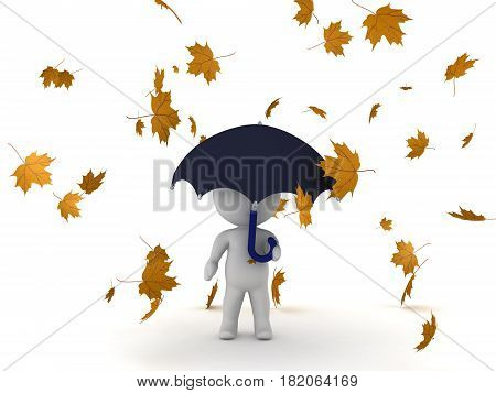 3D Character holding umbrella with autumn leaves falling around him. The leaves are yellow.