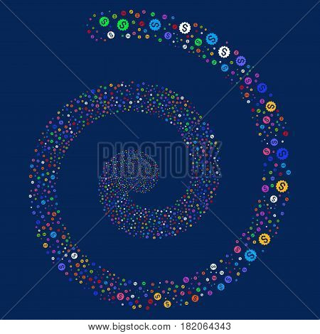 Financial Reward Seal carnival concentric spiral. Vector bright multicolored scattered icons.
