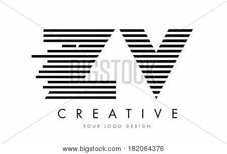 Zv Z V Zebra Letter Logo Design With Black And White Stripes
