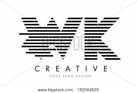 Wk W K Zebra Letter Logo Design With Black And White Stripes