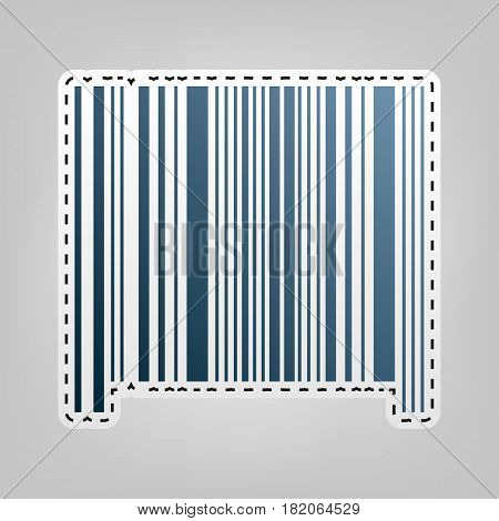 Bar code sign. Vector. Blue icon with outline for cutting out at gray background.