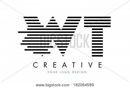 Wt W T Zebra Letter Logo Design With Black And White Stripes