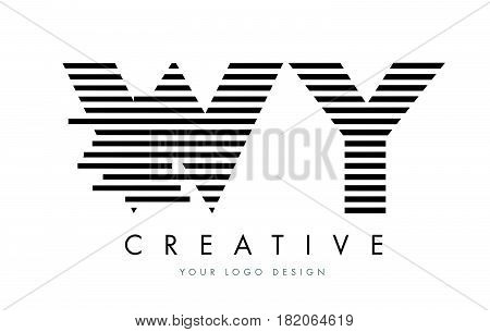 Wy W Y Zebra Letter Logo Design With Black And White Stripes