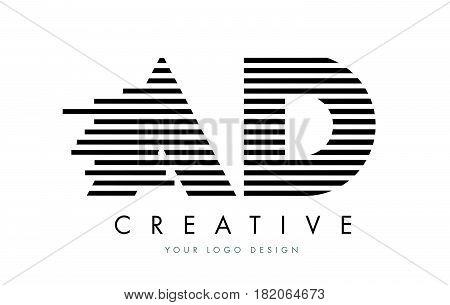 Ad A D Zebra Letter Logo Design With Black And White Stripes