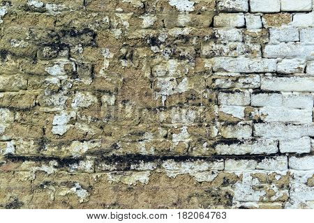 Old weathered mudbrick wall texture mud-brick construction is often adobe