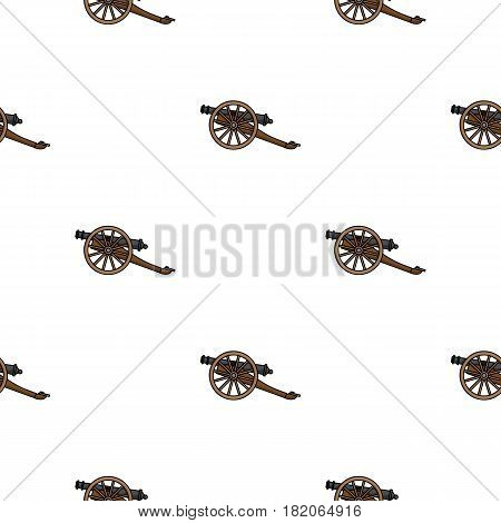 Cannon icon in cartoon style isolated on white background. Museum pattern vector illustration.