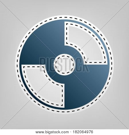 Vector CD or DVD sign. Vector. Blue icon with outline for cutting out at gray background.