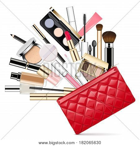 Vector Makeup Bag isolated on white background