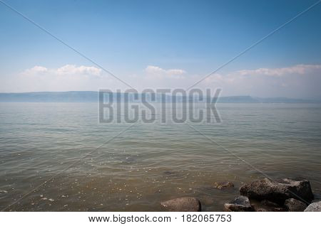 View of the sea of Galilee - Kineret lake , Israel .