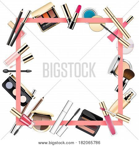 Vector Makeup Frame isolated on white background