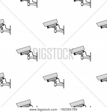 Security camera icon in cartoon style isolated on white background. Museum pattern vector illustration.