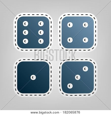 Devils bones, Ivories sign. Vector. Blue icon with outline for cutting out at gray background.