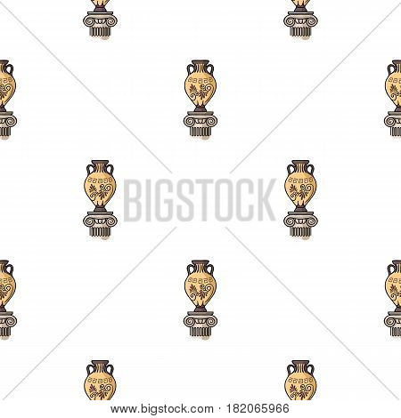 Amphora icon in cartoon style isolated on white background. Museum pattern vector illustration.