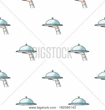 Waiter's hand holding a tray with cloche icon in cartoon style isolated on white background. Restaurant pattern vector illustration.
