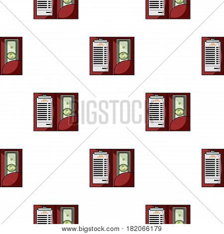 Restaurant receipt with cash icon in cartoon style isolated on white background. Restaurant pattern vector illustration.