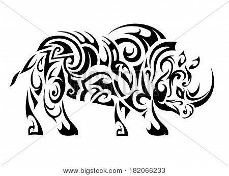 Rhino figure tattoo shape. Maori ethnic style