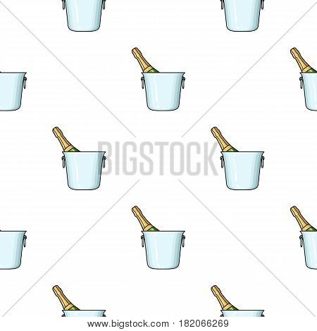 Bottle of champagne in an ice bucket icon in cartoon style isolated on white background. Restaurant pattern vector illustration.