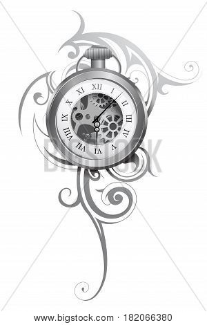 Pocket watch tattoo with abstract ornament isolated on white