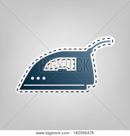 Smoothing Iron sign. Vector. Blue icon with outline for cutting out at gray background.