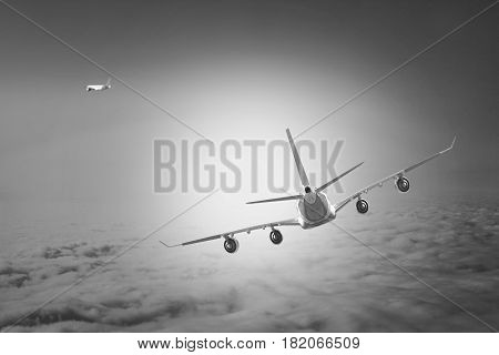Plane in the sky flight travel transport airplane background black white