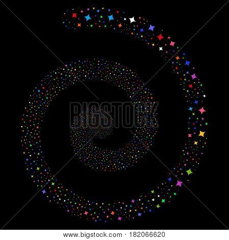 Sparcle Star bang concentric spiral. Vector bright multicolored scattered design elements.
