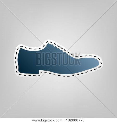 Men Shoes sign. Vector. Blue icon with outline for cutting out at gray background.