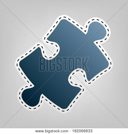 Puzzle piece sign. Vector. Blue icon with outline for cutting out at gray background.