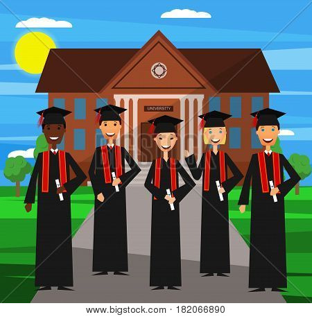 University graduation. Vector. Flat design. Happy students graduated from university. Multicultural group of young students.